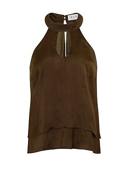 Plus Size Khaki Halter Neck