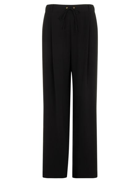 Elvi Plus Size Black Wide Leg Trousers