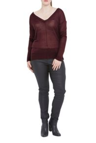 Elvi Maroon V-Neck Jumper