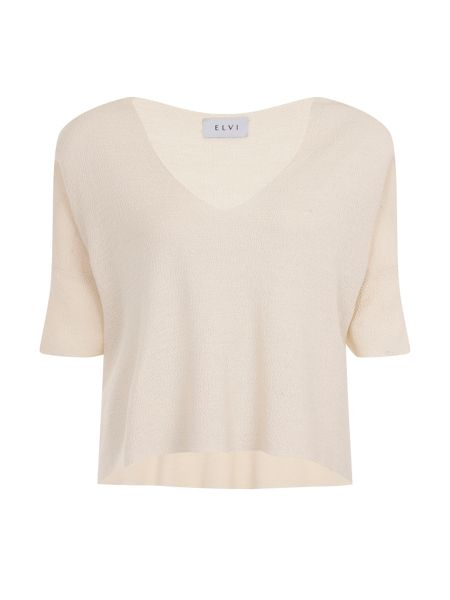 Elvi Plus Size Cream V Neck Box Knit