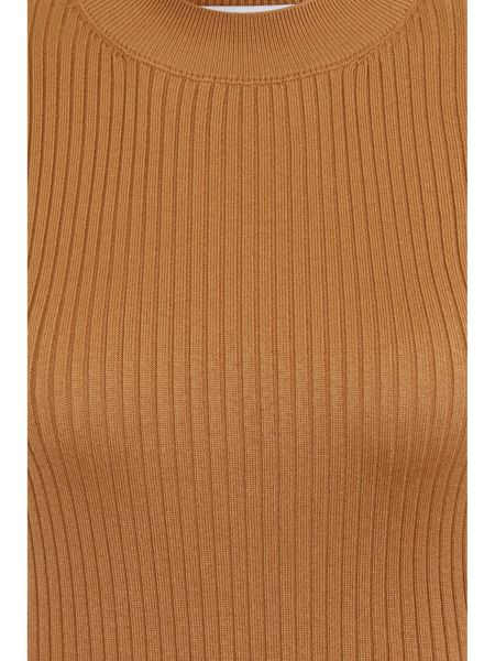 Elvi Plus Size Camel Sleeveless Polo Neck Top