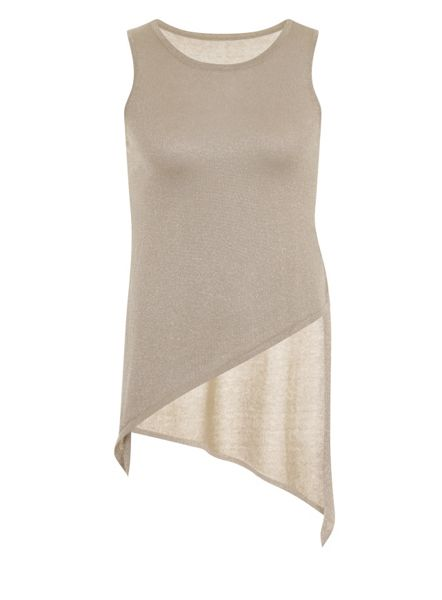 Elvi Plus Size Beige Asymmetric Knitted Top