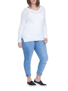 Elvi Plus Size Ivory V Neck Jumper