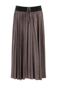 Elvi Suedette Pleated Midi Skirt