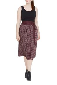 Elvi Geometric Skirt With Obi Belt
