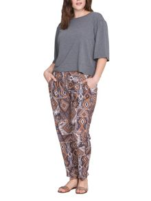 Elvi Plus Size Tribal Print Relaxed Pants