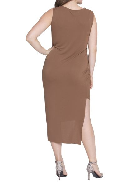 Elvi Plus Size Brown Draped Dress