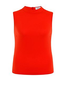 Plus Size Red Sleeveless Turtle Neck Top