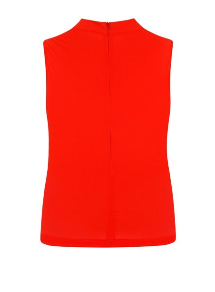 Elvi Plus Size Red Sleeveless Turtle Neck Top