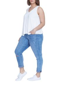Elvi Plus Size White V Neck Vest Top