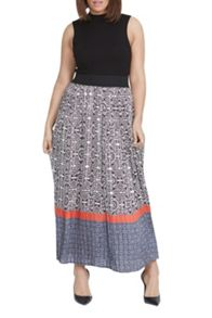 Elvi Monochrome Maxi Pleated Skirt