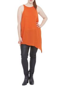 Elvi Orange Asymmetric Tunic