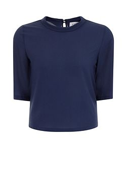 Plus Size Navy Scoop Neck Blouse