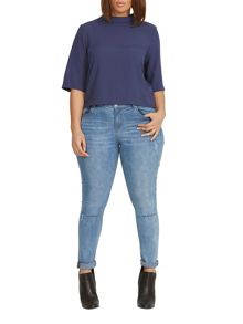 Elvi Plus Size Navy Scoop Neck Blouse