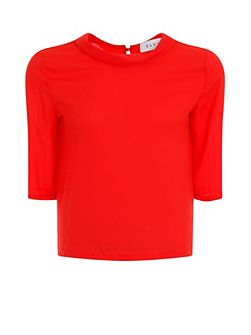 Plus Size Red Scoop Neck Blouse