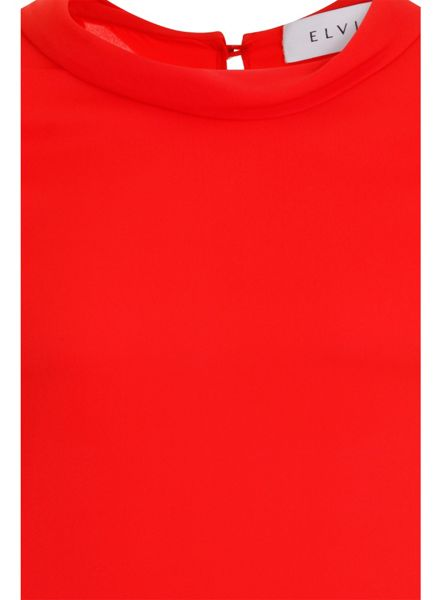 Elvi Plus Size Red Scoop Neck Blouse