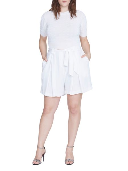 Elvi Plus Size White Wide Leg Shorts