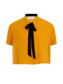 Elvi Plus Size Mustard Box Top With Black Tie