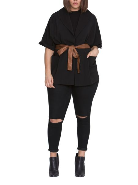 Elvi Plus Size Black Kimono Jacket With Tan Belt