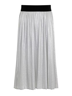 Plus Size Silver Pleated Skirt