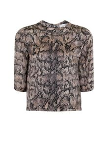 Elvi Plus Size Snake Print Scoop Neck Top