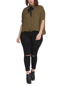 Elvi Plus Size Khaki Box Top With Black Tie