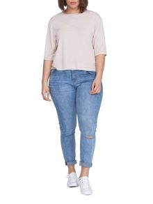 Elvi Plus Size Cream Basic Top