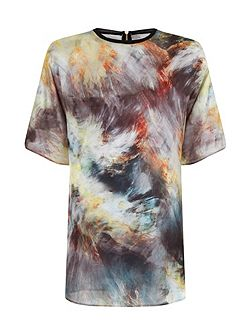 Plus Size Green Oversized Print Top