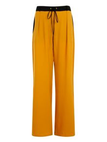 Elvi Plus Size Mustard & Black Wide Leg Trs
