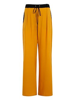 Plus Size Mustard & Black Wide Leg Trs