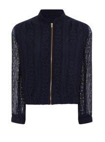 Elvi Plus Size Navy Lace Bomber Jacket
