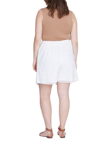 Elvi Plus Size White Lace Wide Leg Shorts