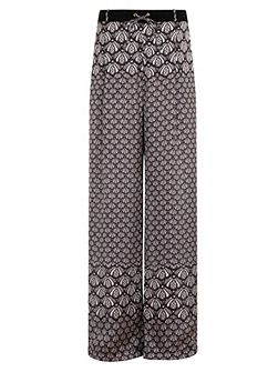Plus Size Lace Print Wide Leg Trousers