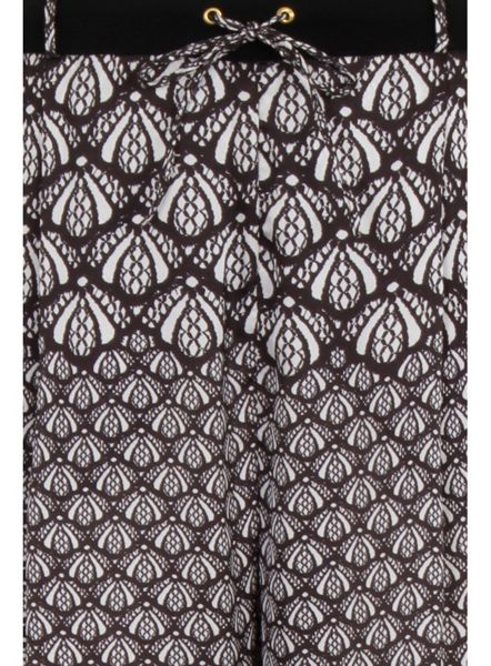 Elvi Plus Size Lace Print Wide Leg Trousers