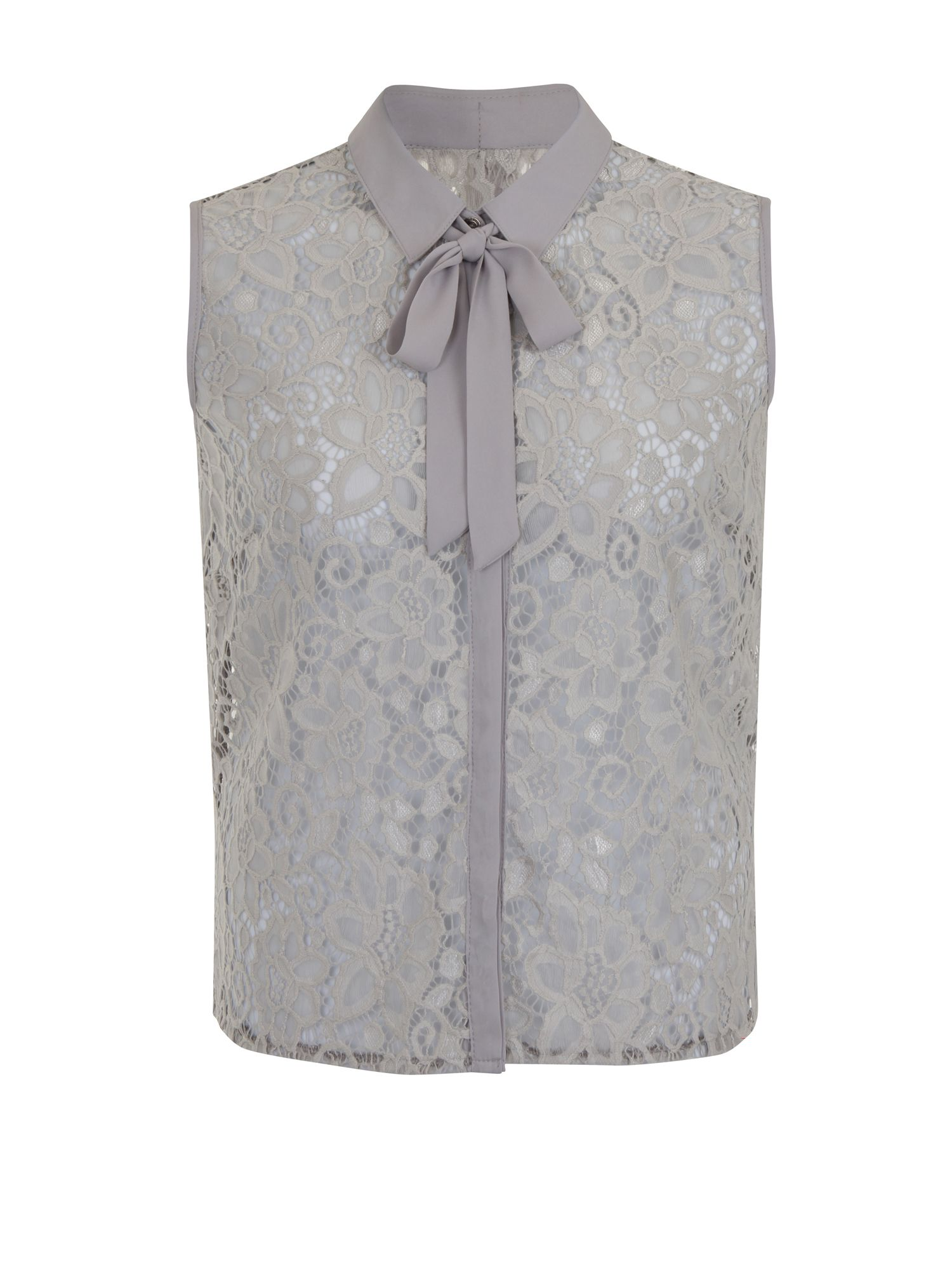 Shop 1960s Style Blouses, Shirts and Tops Elvi Plus Size Grey Lace Pussy Bow Top £39.20 AT vintagedancer.com