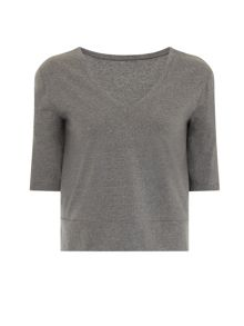 Elvi Plus Size Grey V Neck Jersey Top