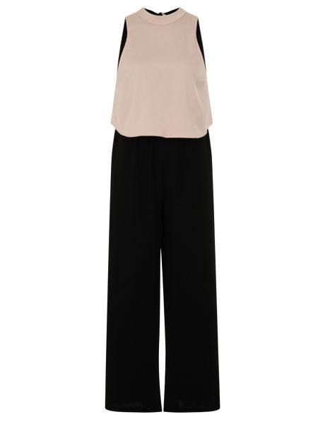 Elvi Plus Size Nude & Black Jumpsuit