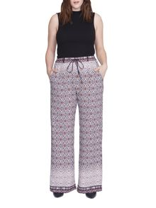 Elvi Plus Size Boho Print Trousers