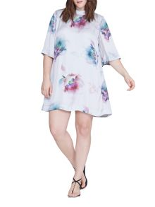 Elvi Plus Size Water Colour Print Dress