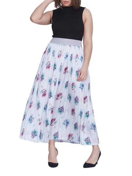 Elvi Plus Size Multi Water Colour Skirt