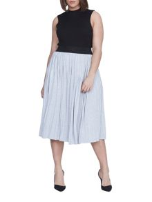 Elvi Plus Size Grey Jersey Pleated Skirt