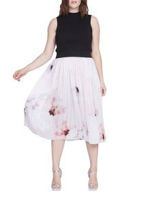 Elvi Plus Size Nude Floral Midi Pleated Skirt