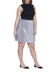 Elvi Plus Size Silver Sequin Skirt