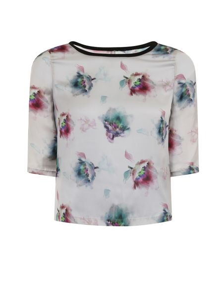 Elvi Plus Size Multi Water Colour Print Top