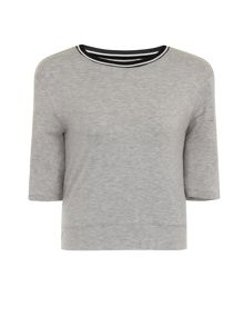 Elvi Plus Size Grey Ribbed Detail Jersey Top