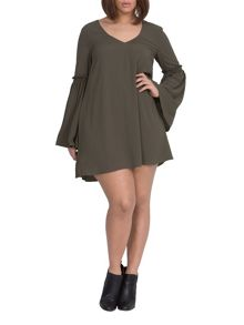 Elvi Plus Size Green Gypsy Dress