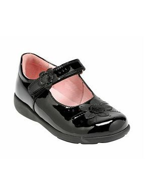 Girl`s stone black patent shoes Fit H
