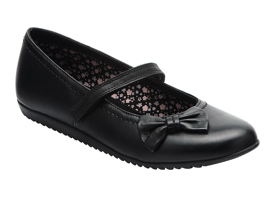 Girl`s nova black leather shoes