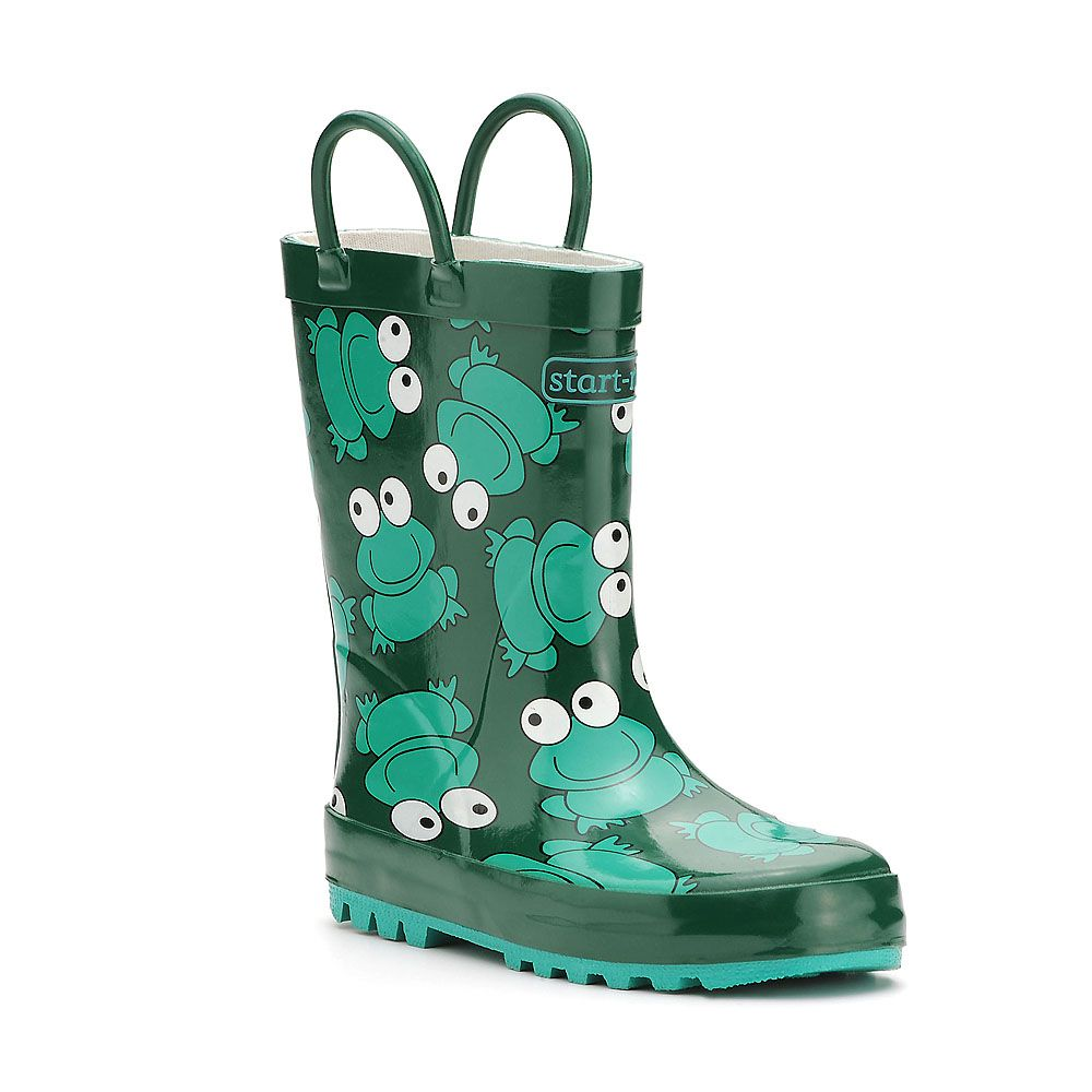 Boy`s froggie green wellington boots
