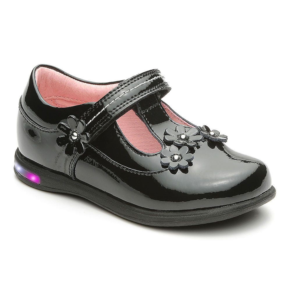 Girl`s glitter black patent shoes